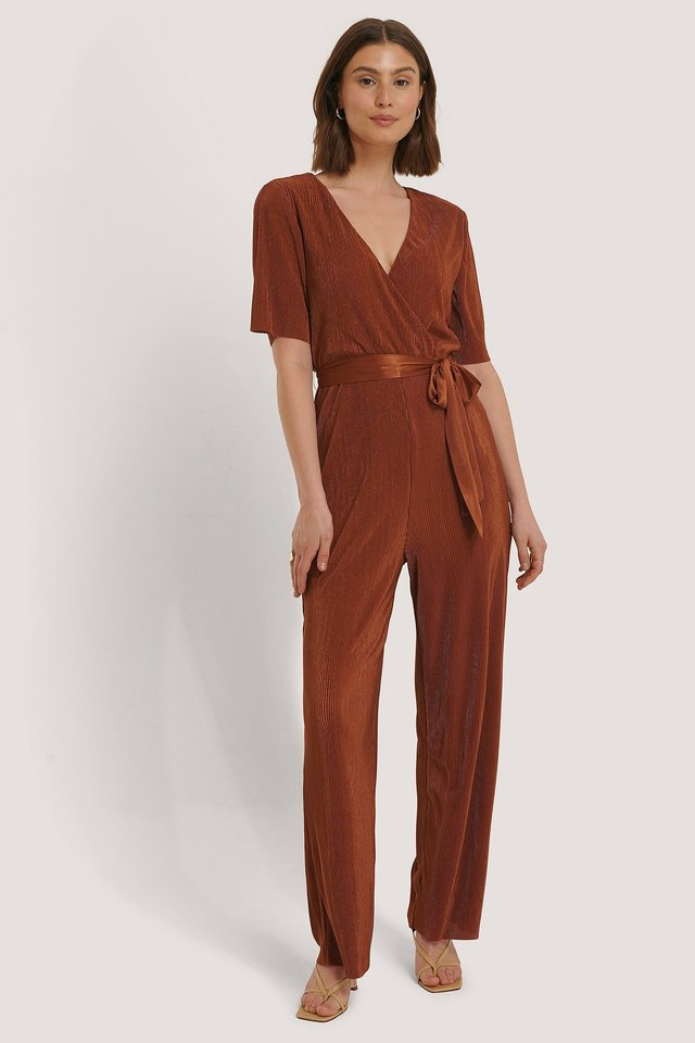 Pleated Tie Jumpsuit Outfit.