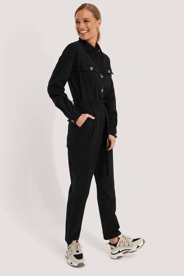 Cotton Canvas Jumpsuit Outfit.