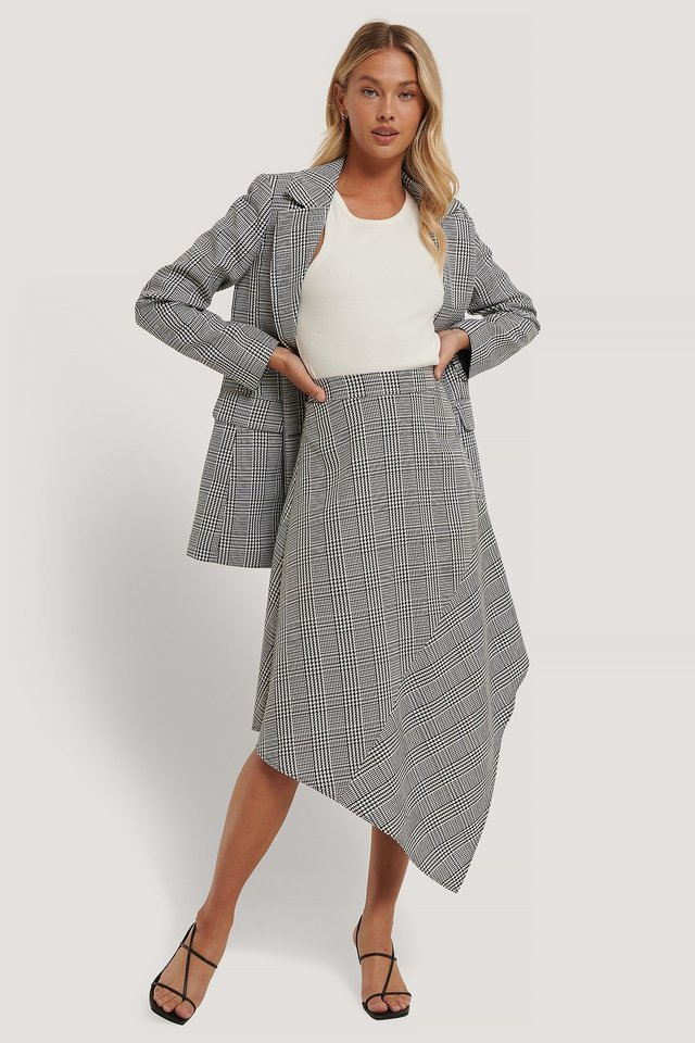 Asymmetric Houndtooth Skirt Outfit.