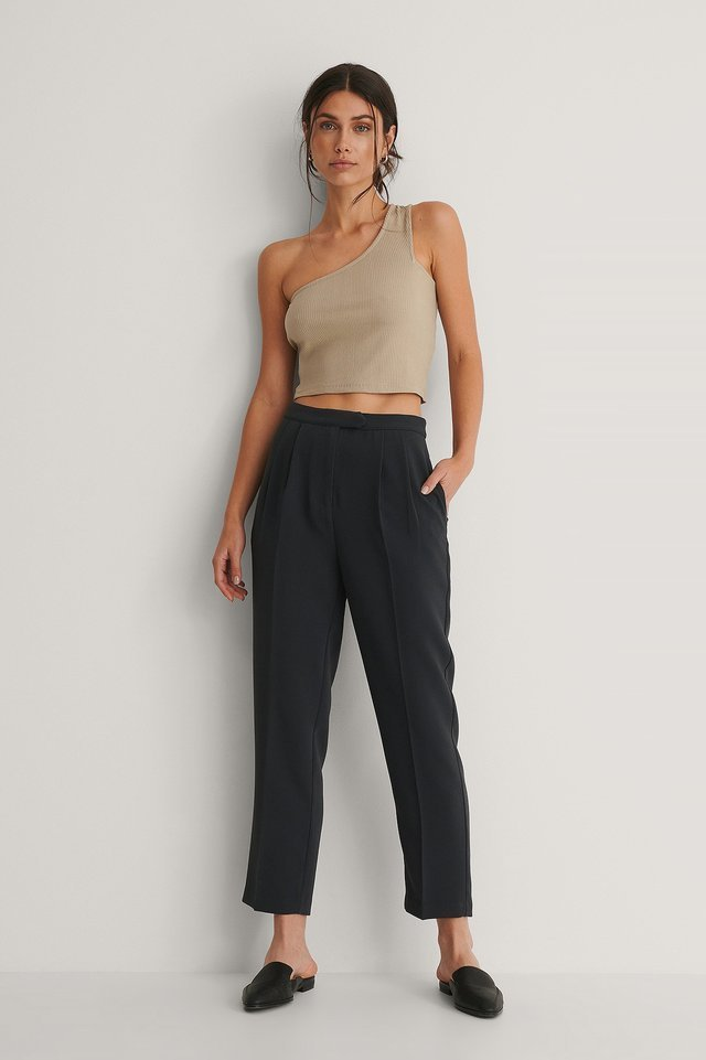Rib One Shoulder Top Outfit.