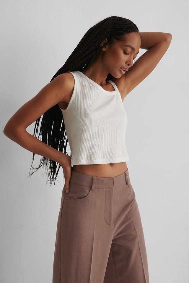 Asymmetric Strap Rib Top Outfit.