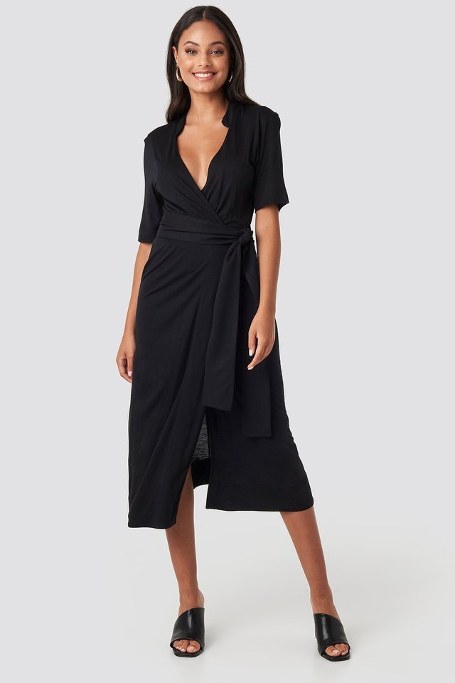 Wrap Jersey Midi Dress Outfit.