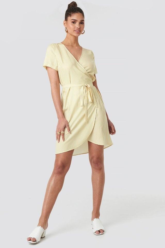 Striped Wrap Mini Dress Outfit.