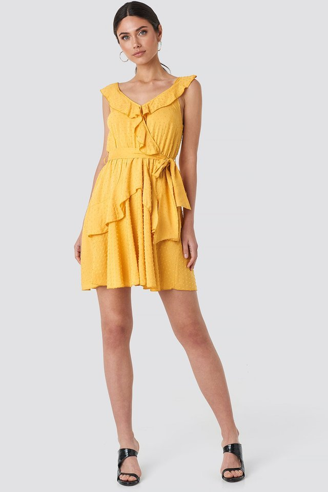 Mustard Frilly Binding Dress Outfit.