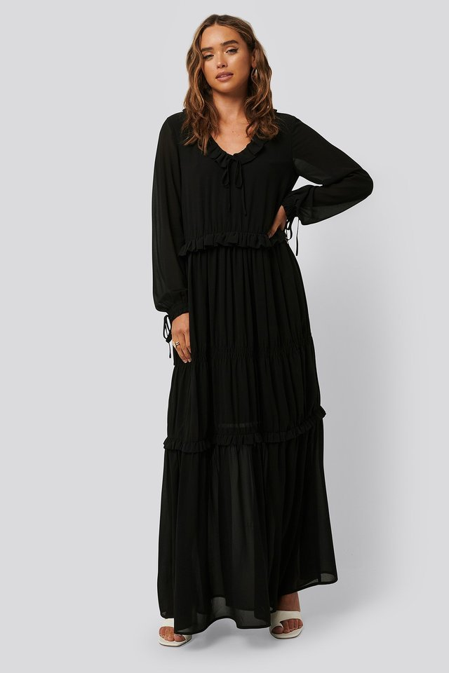 Multi Frill Flowy Dress Outfit.