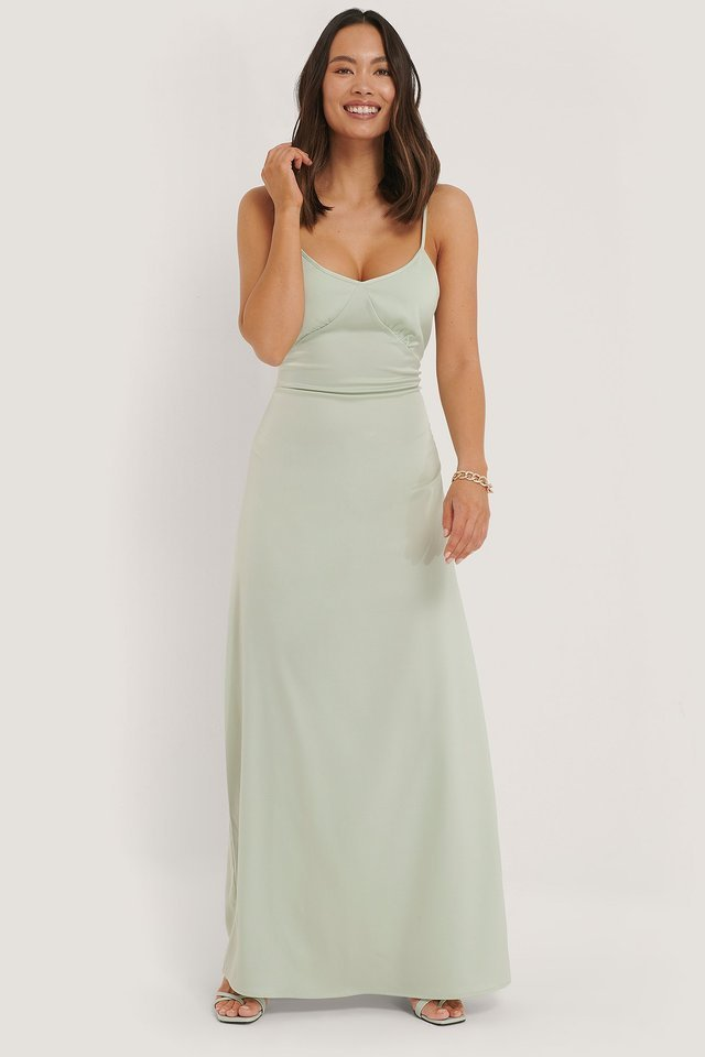 Mint Cross Back Satin Dress