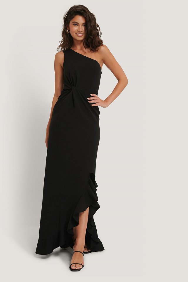 Ruffle Evening Dress Outfit.