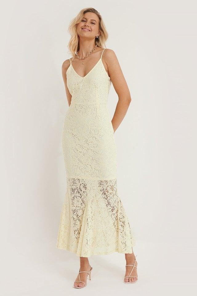 Cream Long Lace Dress