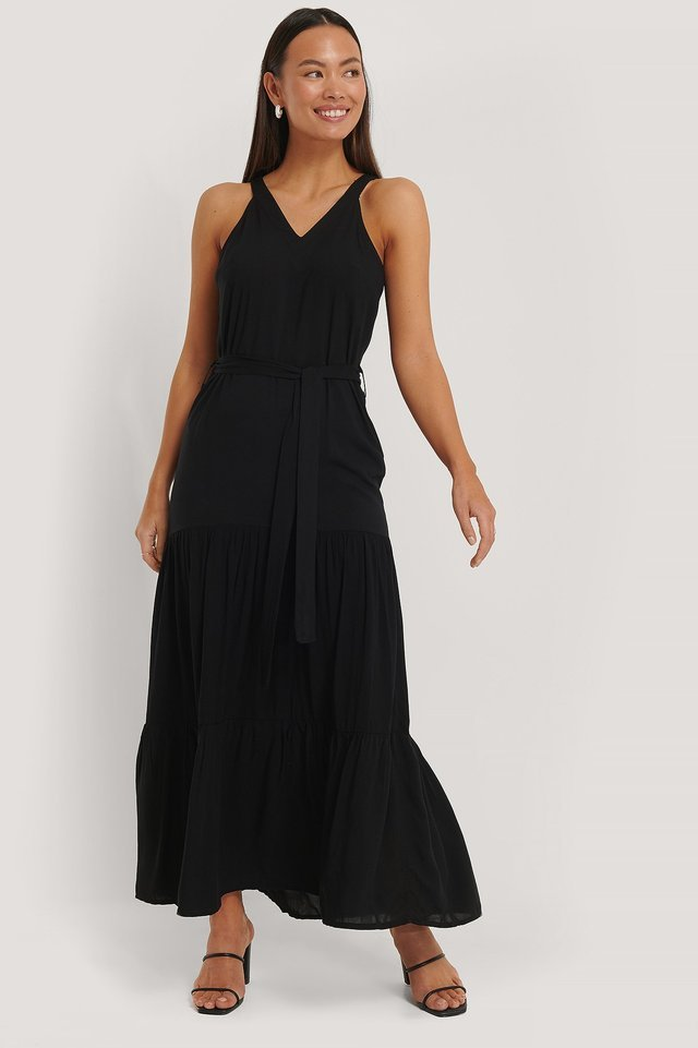 Long V-Neck Dress Outfit.