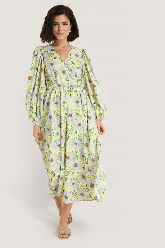 Balloon Sleeve Overlap Flower Print Dress Outfit.