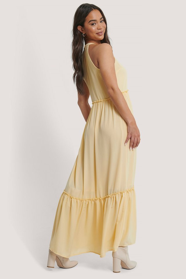 Flowy Frill Maxi Dress Outfit.