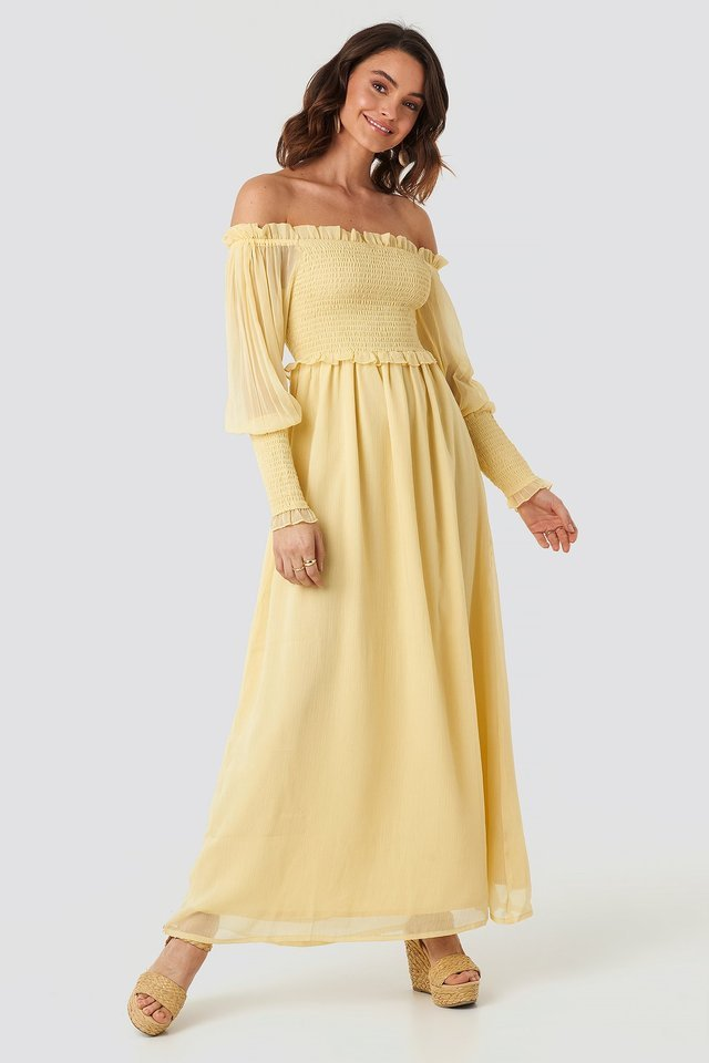 Off Shoulder Smock Chiffon Dress Outfit.