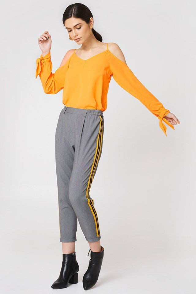 Cold Shoulder Top with Sporty Trousers