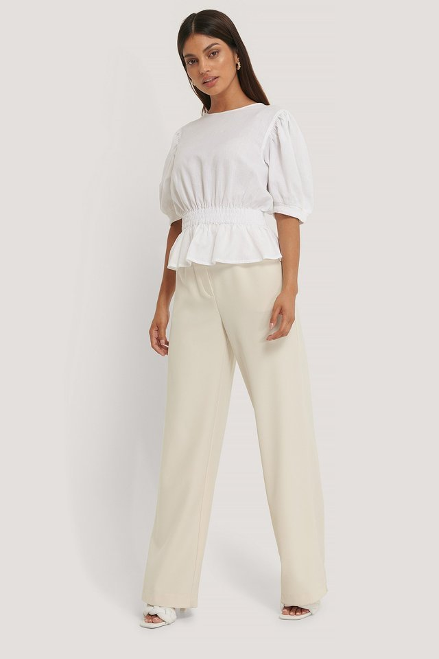 Smocked Waist Linen Blend Blouse Outfit.
