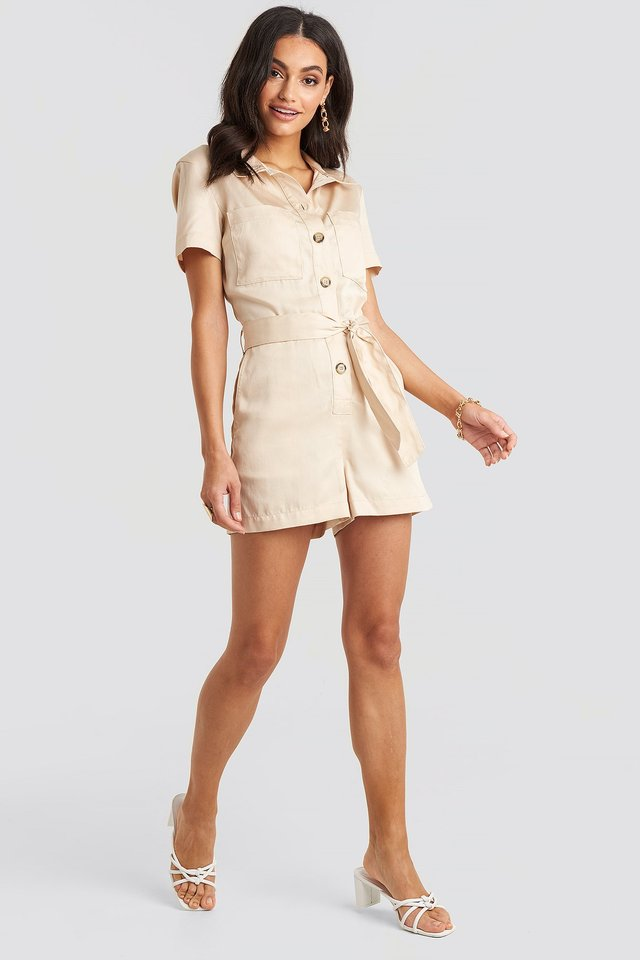 Tencel Belted Cargo Playsuit Outfit.