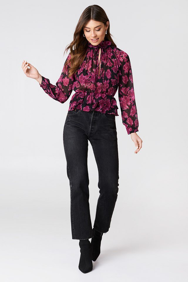 High Frill Neck Blouse with Jeans