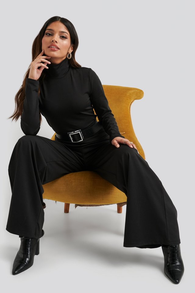 Turtle Neck Long Sleeve Jersey Jumpsuit Outfit.