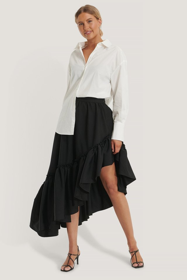 Midi Frilled Skirt Outfit.