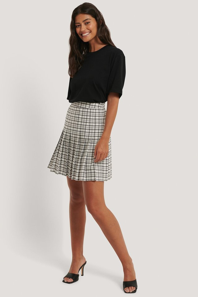 Pleated Mini Check Skirt Outfit.
