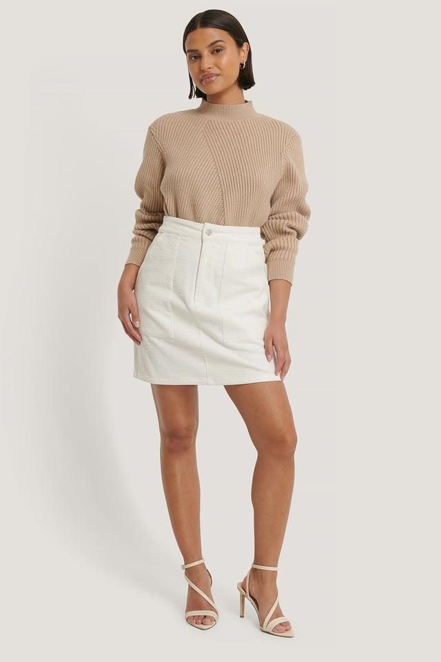 Corduroy Mini Skirt Offwhite Outfit.