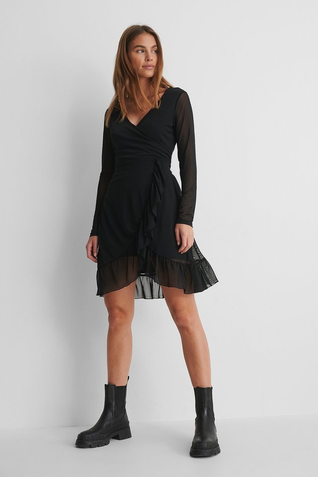 Wrap Tie Mesh Dress