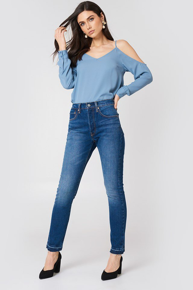 Cold Shoulder Blouse with Jeans