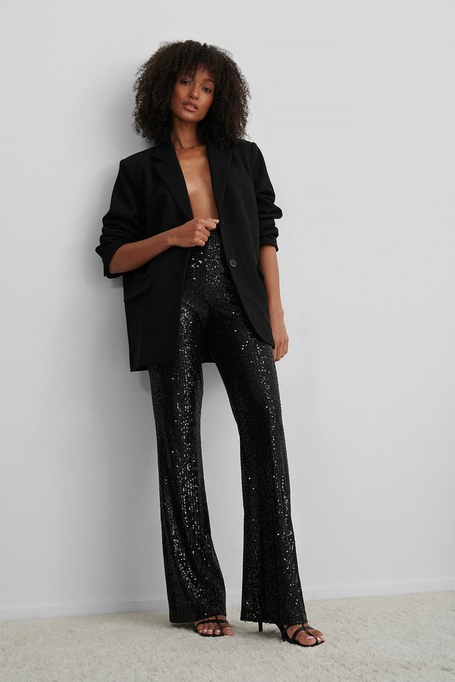 Straight Sequin Pants Outfit.