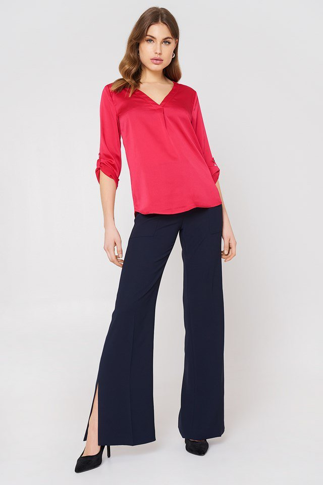 Shiny Blouse with Slit Trousers