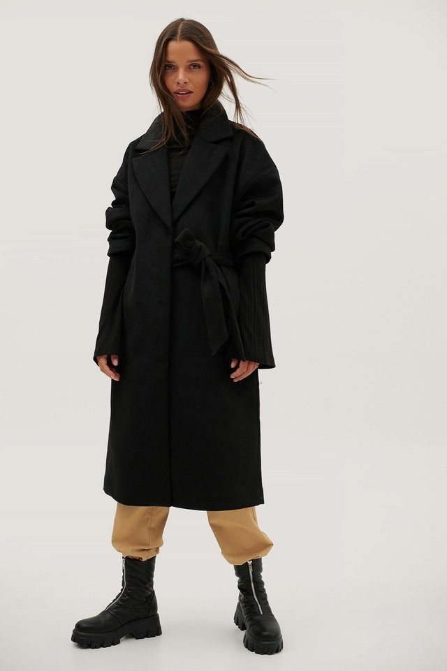 Ruched Wide Belt Wool Coat Black.