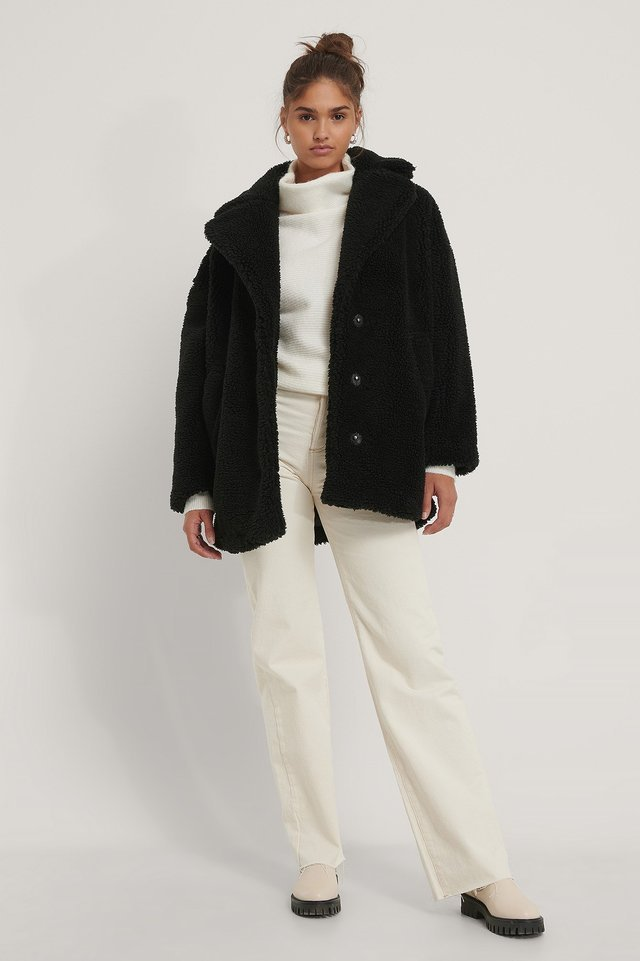 Fluffy Teddy Midi Coat Black.
