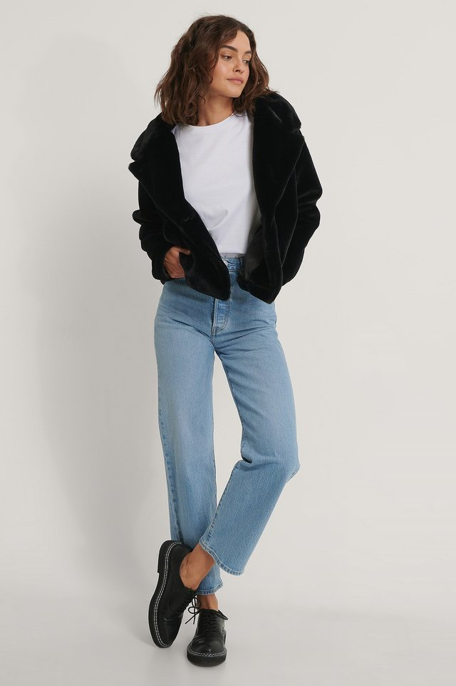 Fluffy Faux Fur Jacket Black.