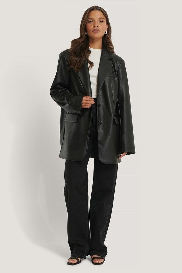 Maxi Oversized PU Blazer Black.