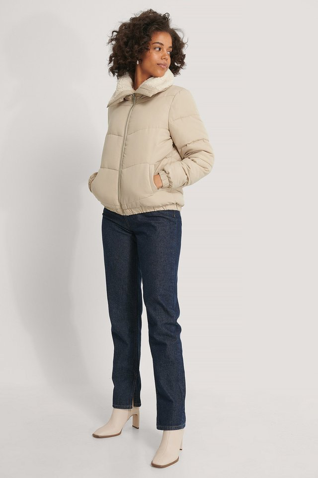 Padded Teddy Detail Jacket Beige.