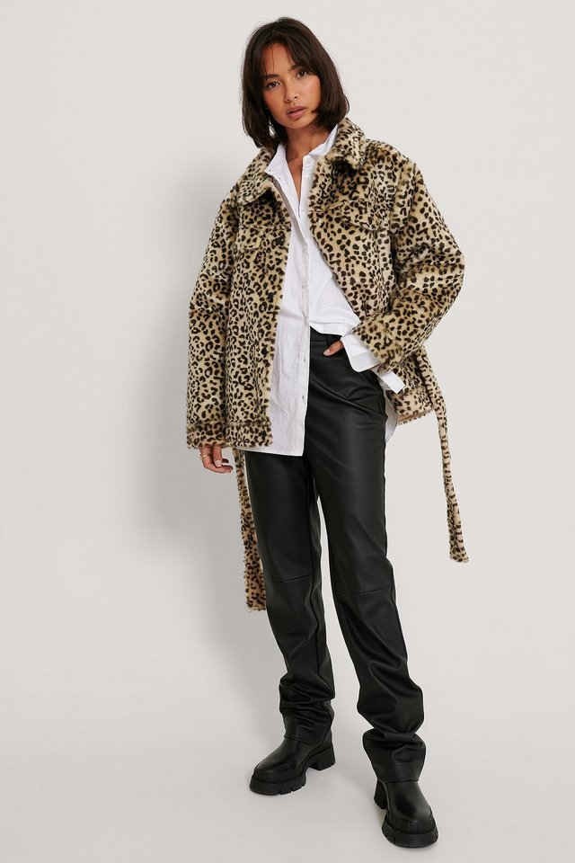 Belted Faux Fur Jacket Multicolor.