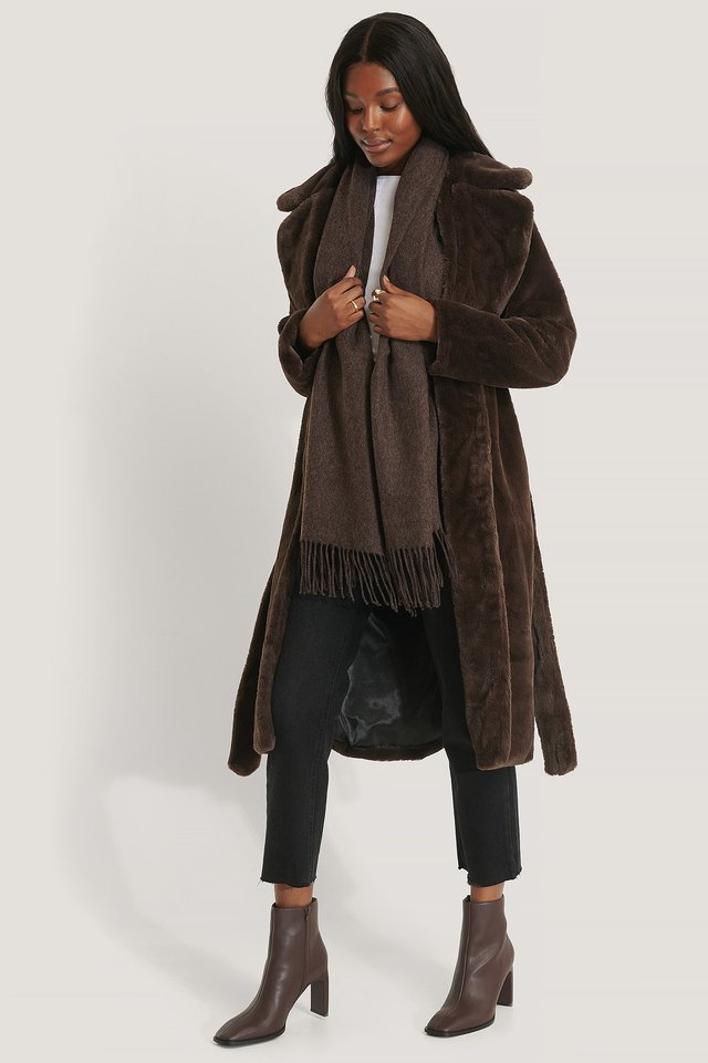 Sofia Faux Fur Coat Brown.