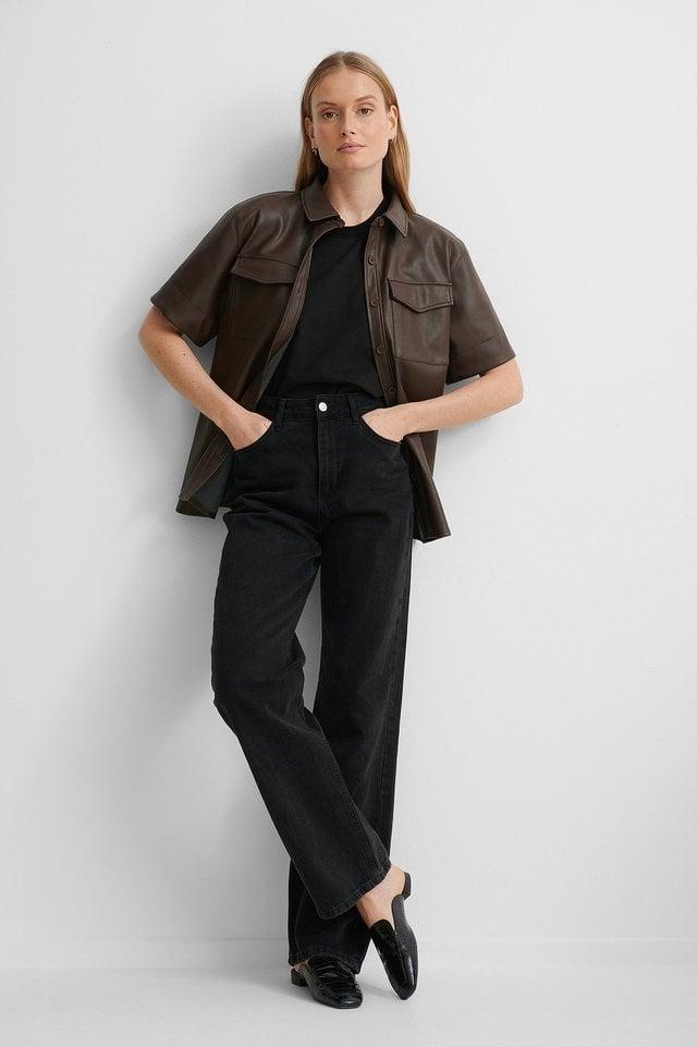 Folded Organic Sleeve Tee Outfit.