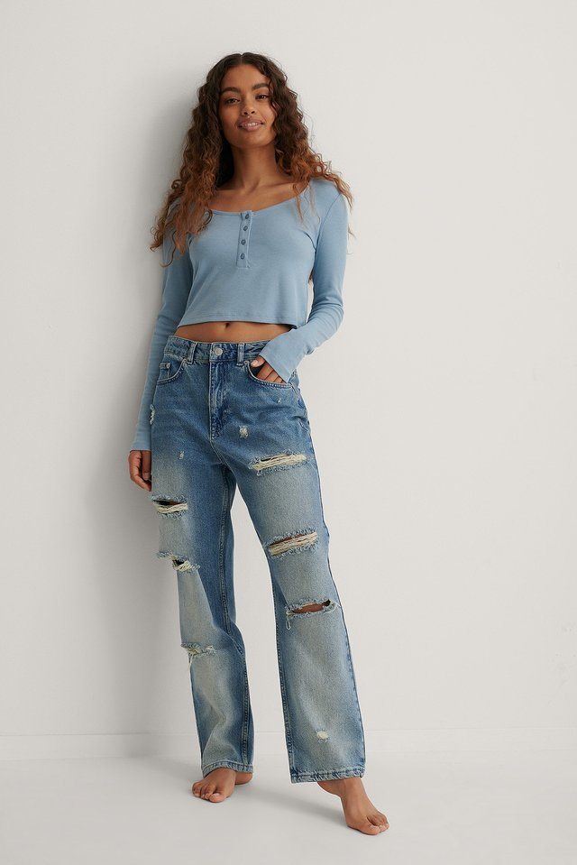 Ribbed Henley Crop Top Outfit.