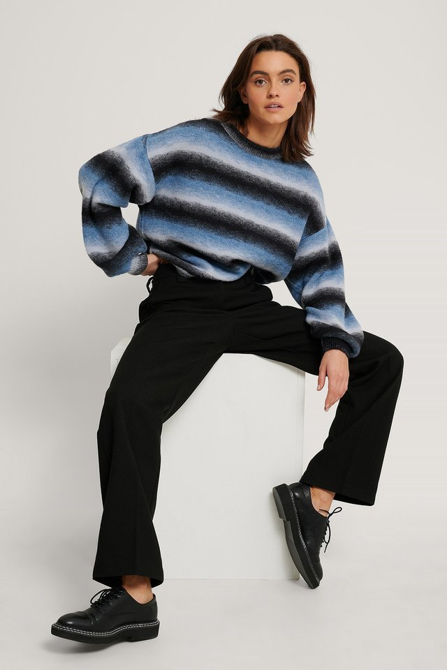 Multi Color Balloon Sleeve Knitted Sweater Outfit.