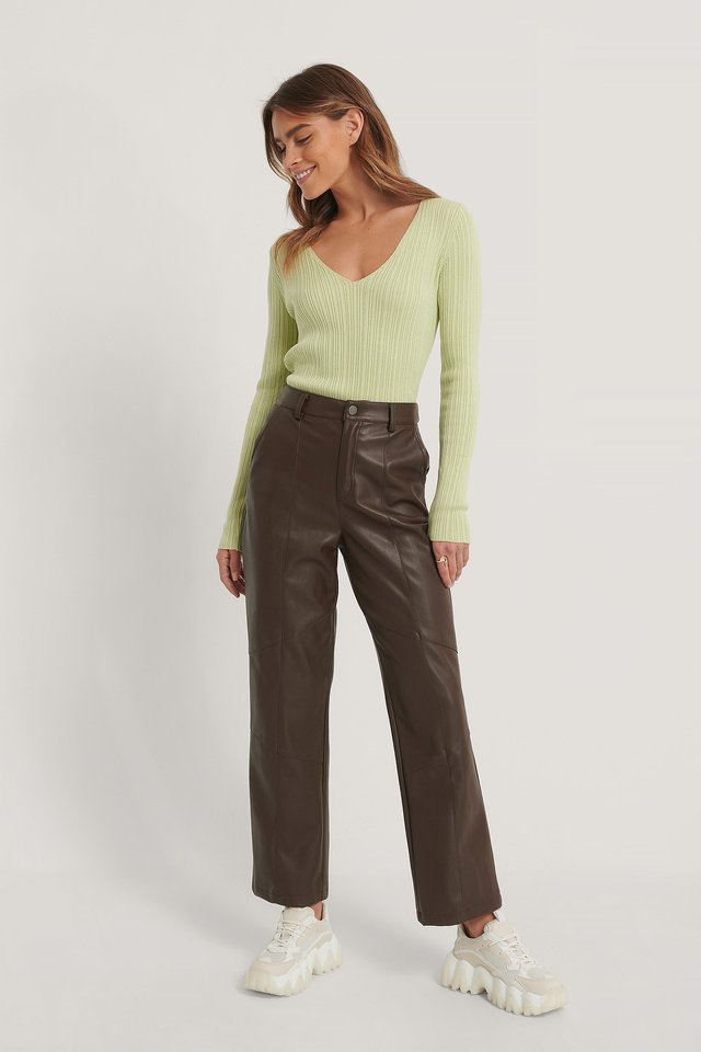 V-neck Light Rib Knitted Sweater Outfit.