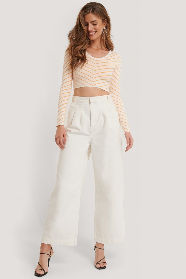 Cropped Wide Neck Top Outfit.