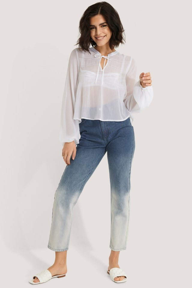 Shirred V-Neck Blouse Outfit.