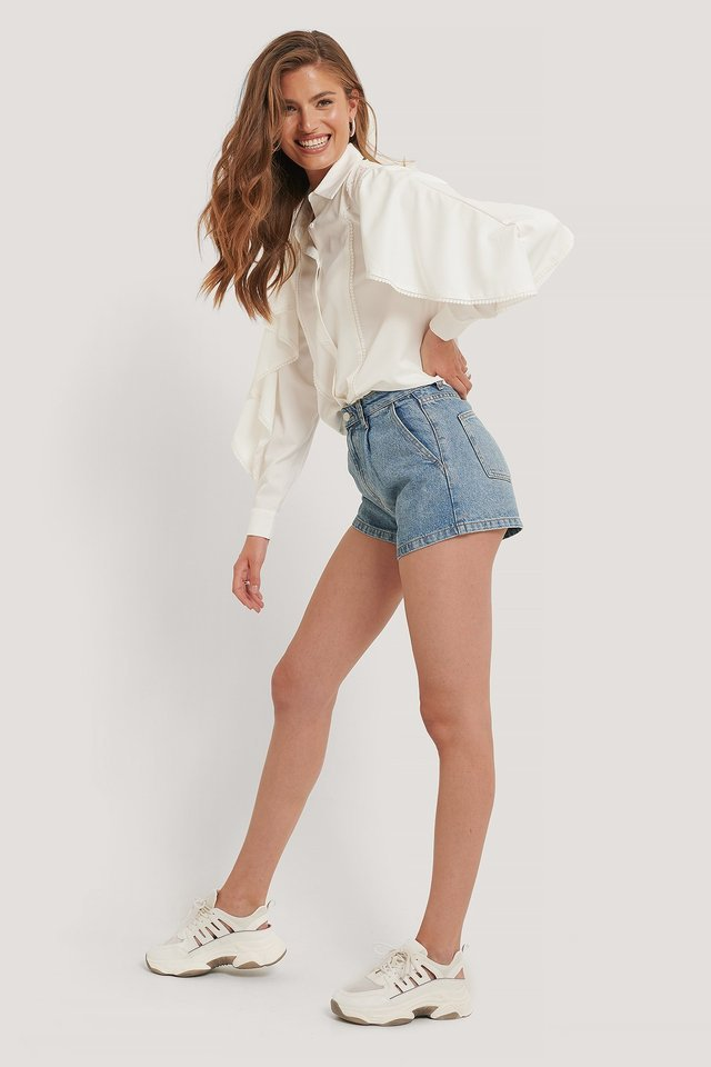 Organic Cotton Pleat Detail Shorts Outfit.