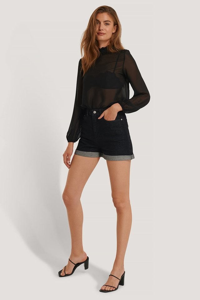 Folded Hem Denim Shorts Outfit.