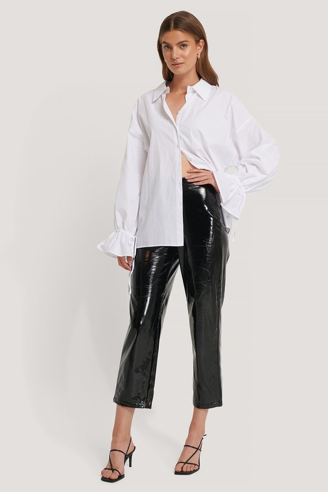 High Waisted Patent Pants Outfit.