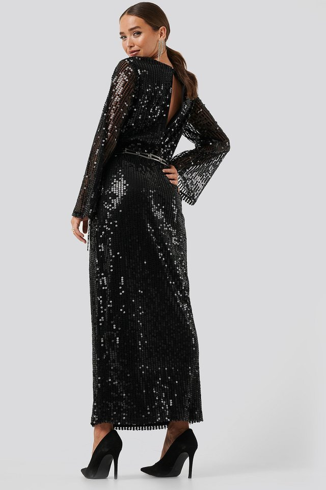 Trumpet Sleeve Sequin Dress Outfit.