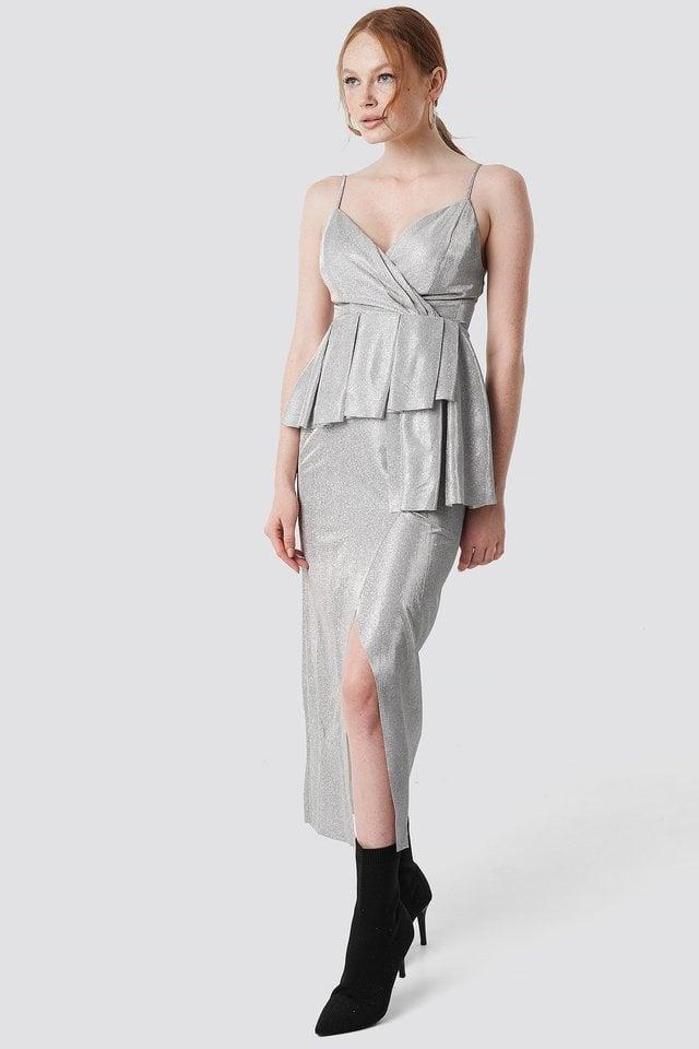 Shiny Slit Maxi Dress Outfit.