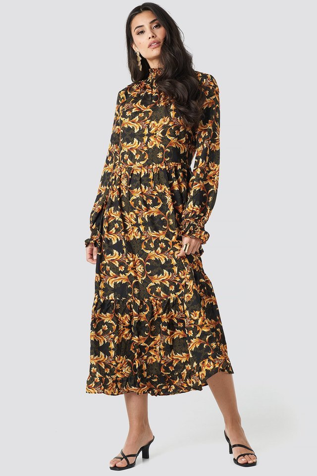 Smock Neck Printed Ankle Dress Outfit.