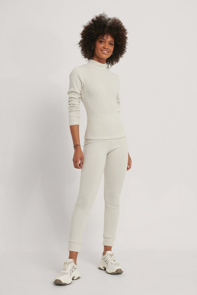 Soft Ribbed Highneck Long Sleeve Outfit.