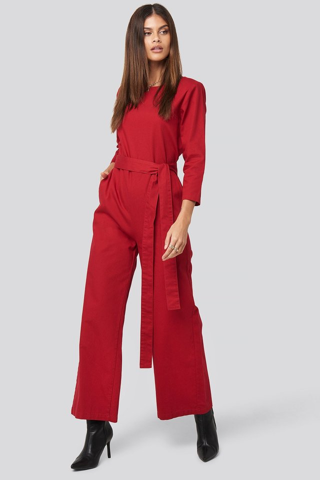 Belted Waist Detail Jumpsuit Outfit.
