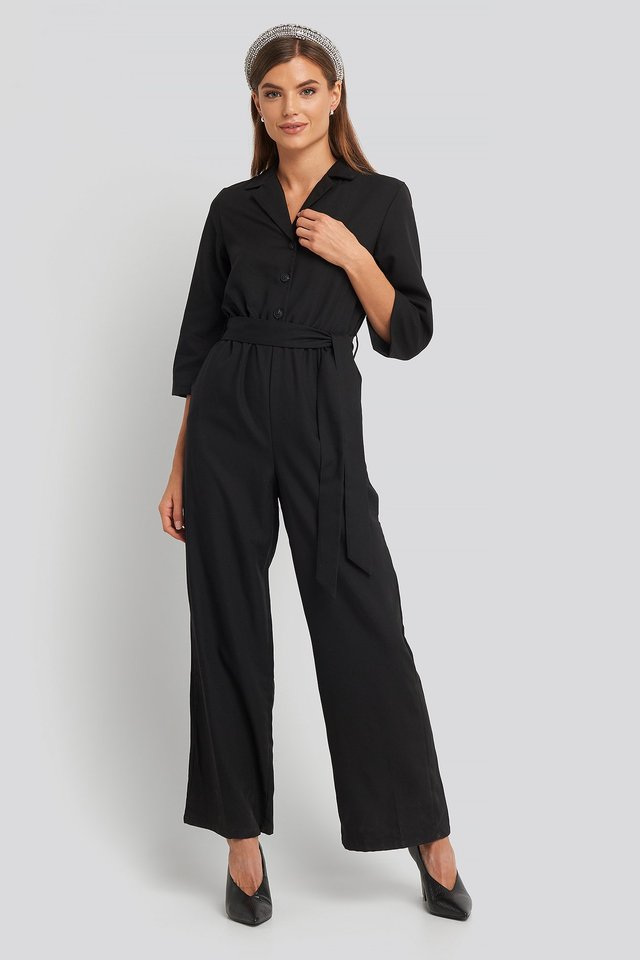 Wide Leg Buttoned Jumpsuit Outfit.